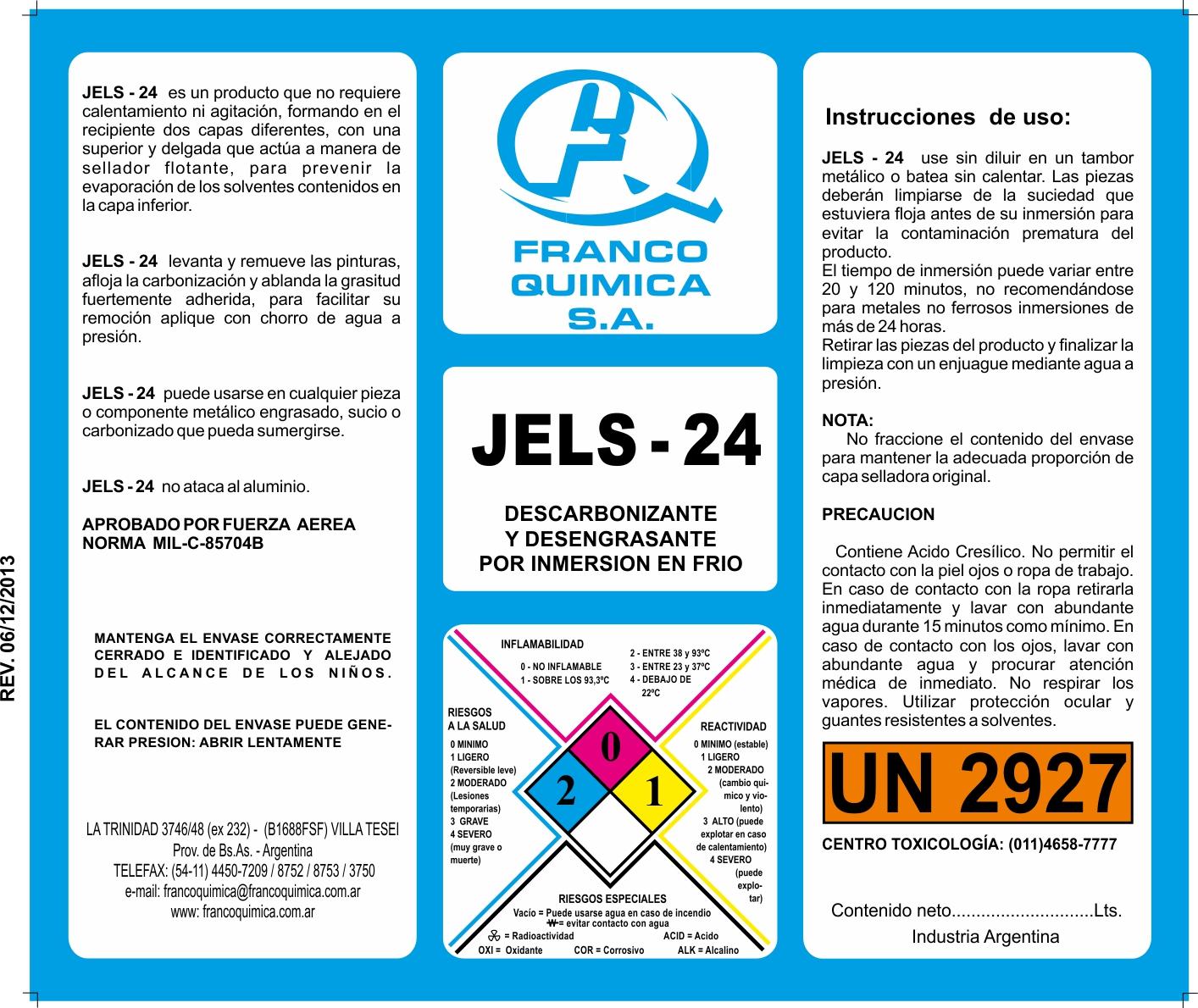 Jels 24 franco quimica s a for Programa de limpieza y desinfeccion de una cocina
